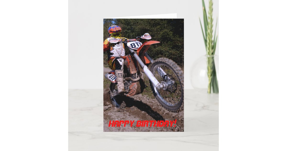 Dirt Bike Wheelie Birthday Card Zazzle