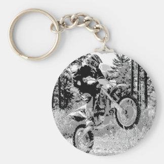 Dirt bike wheeling in the woods key chains