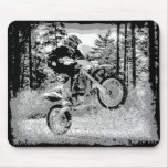 Dirt bike wheeling in the woods mouse mats