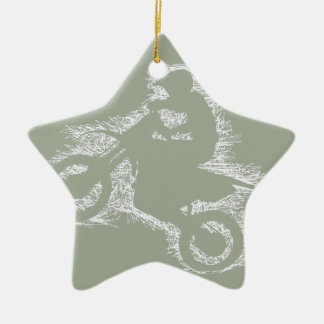 DIRT BIKE ( white scribble ) Ceramic Star Decoration