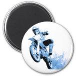 Dirt Biking wheeling in the Mud in Blue Refrigerator Magnets