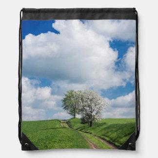 Dirt Road and Apple Trees Drawstring Bag