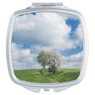 Dirt Road and Apple Trees Travel Mirror