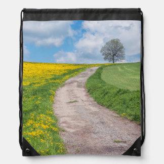 Dirt Road and Tree Drawstring Bag