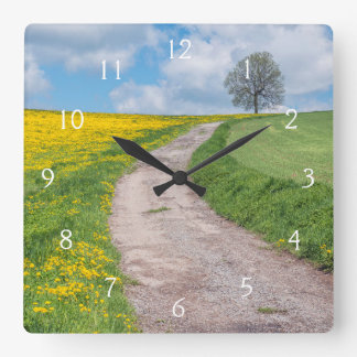Dirt Road and Tree Square Wall Clock