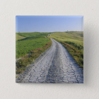 Dirt Road through Fields and Hills, Val d'Orcia, 15 Cm Square Badge
