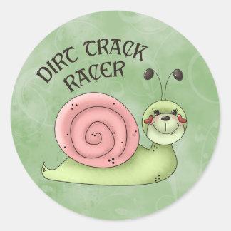 Dirt Track Racer Round Sticker
