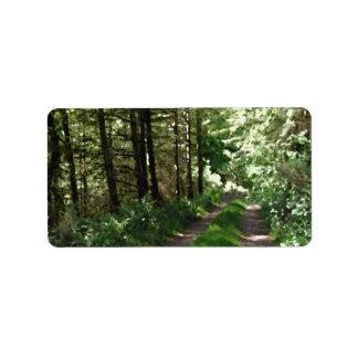 Dirt Track Through Trees. Address Label