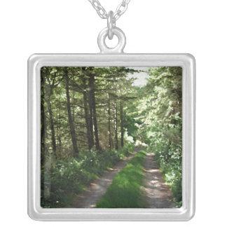 Dirt Track Through Trees. Square Pendant Necklace