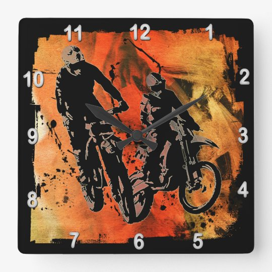 Dirtbiker Duo Red and Orange Grunge Square Wall