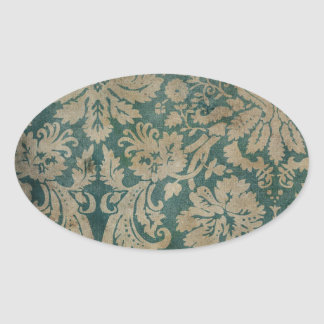 Dirty antique damask wallpaper oval sticker