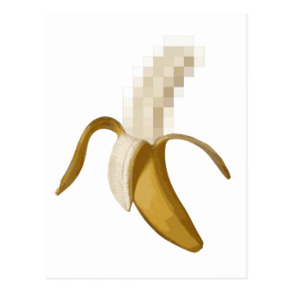 Dirty Censored Peeled Banana Postcard