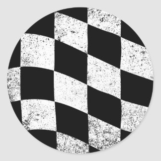 Dirty Chequered Flag Classic Round Sticker