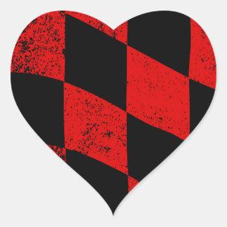 Dirty Chequered Flag Heart Sticker