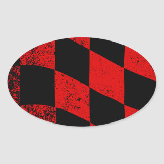 Dirty Chequered Flag Oval Sticker