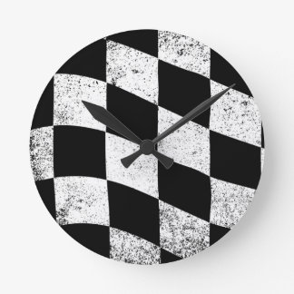 Dirty Chequered Flag Round Clock