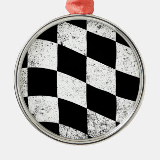 Dirty Chequered Flag Silver-Colored Round Decoration