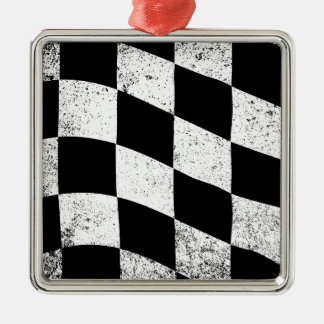 Dirty Chequered Flag Silver-Colored Square Decoration