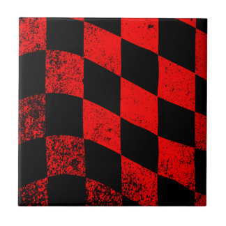 Dirty Chequered Flag Small Square Tile