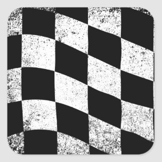 Dirty Chequered Flag Square Sticker
