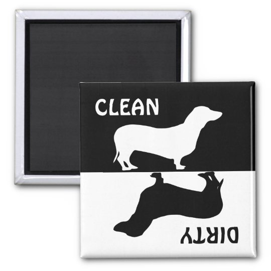 Dirty Clean Dachshund dog dishwasher magnet