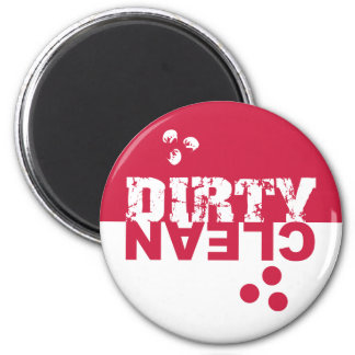 Dirty/Clean Dishwasher Magnet Red and White