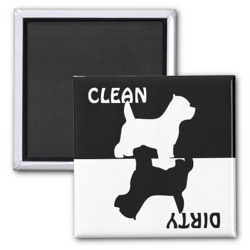 Dirty Clean Westie dog dishwasher magnet, gift