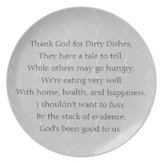 Dirty Dishes Poem Plate