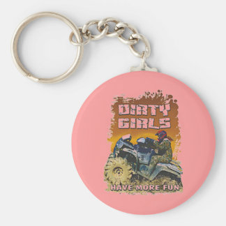 dirty girls basic round button key ring