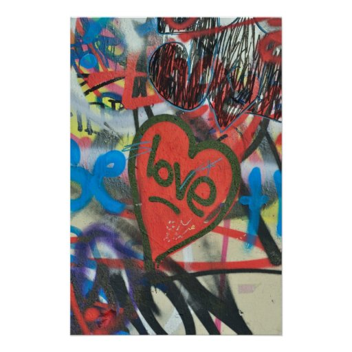 Dirty love heart of the city graffiti poster