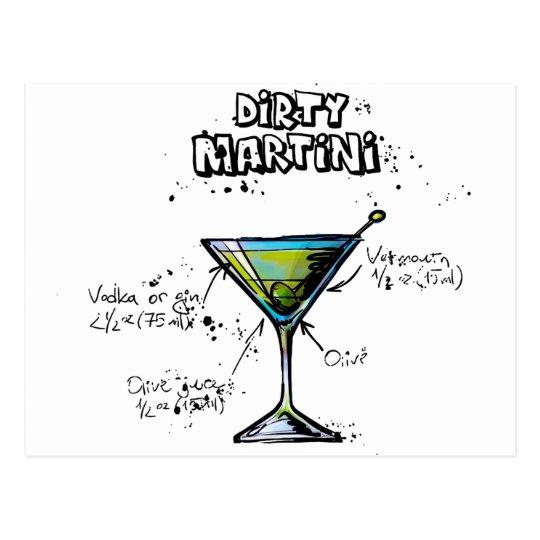 Dirty Martini Cocktail Recipe Postcard