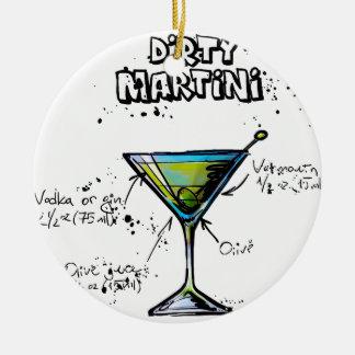 Dirty Martini Cocktail Recipe Round Ceramic Decoration