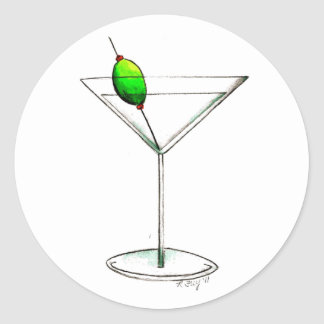 Dirty Martini w/ Olive Cocktail Glass Mixed Drink Classic Round Sticker
