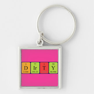 Dirty periodic table name keyring Silver-Colored square key ring
