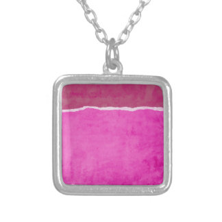 Dirty ripped pink paper silver plated necklace