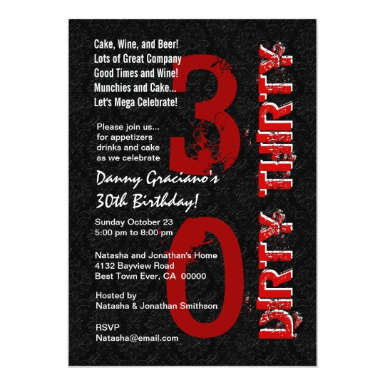 Dirty Thirty Birthday Black White Red Template G20 Card