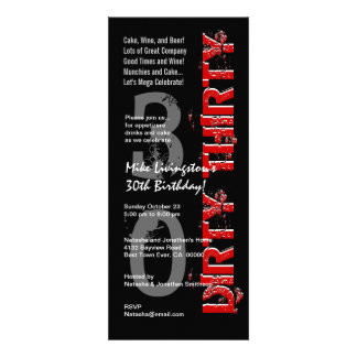 DIRTY THIRTY Birthday Party Black White Red Tall Invitation
