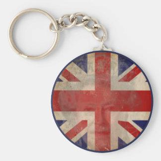 Dirty U.K. Flag Keychain with Queen Elizabeth II