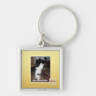 dis is u Silver-Colored square key ring