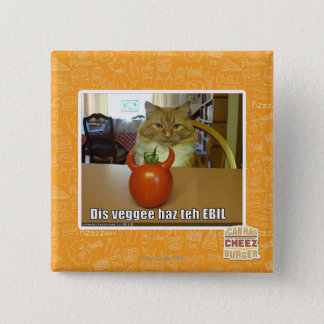 Dis veggee haz the EBIL 15 Cm Square Badge