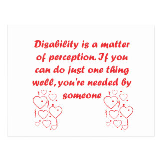 Disability is a matter of perception post card