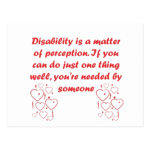 Disability is a matter of perception! post card