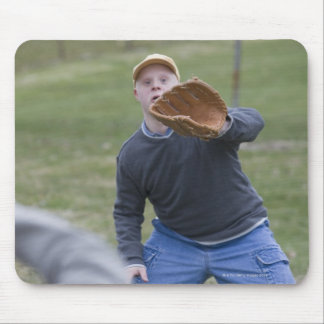 Disabled man playing baseball with his son mouse mat