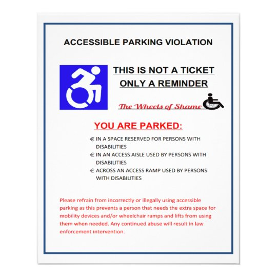 Disabled Parking Space Warning 11.5 Cm X 14