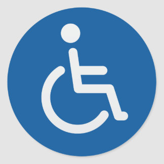 Disabled sign or handicapped symbol blue and white round sticker