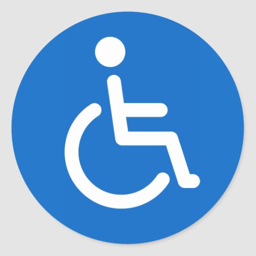 Disabled sign or handicapped symbol blue and white round stickers