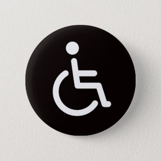 Disabled symbol or black and white handicap sign 6 cm round badge