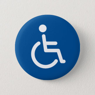 Disabled symbol or blue and white handicap sign 6 cm round badge