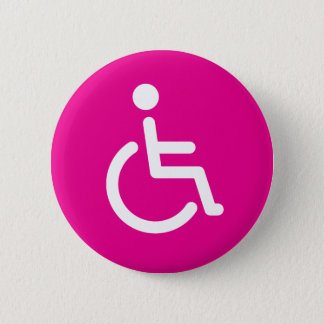 Disabled symbol or pink handicap sign for girls 6 cm round badge