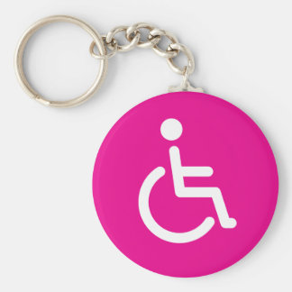 Disabled symbol or pink handicap sign for girls key ring